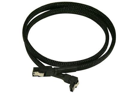 SATA III, 1 rett og 1 vinklet kontakt, kabelstrømpe, 60 cm, sort
