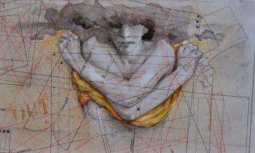 """Photo: """"OUT""""  anno 2012 22x37 olio, china, grafite su carta applicata su tavola  collezione privata © tutti i diritti riservati"""
