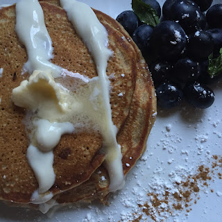 Healthy Whole Wheat Cinnamon Roll Pancakes