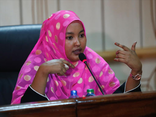 Wajir Woma Rep Fatuma Gedi when she appeared before Powers and Privileges committee to answer to the allegations of her involvement in the sugar report bribery, September 25, 2018. /JACK OWUOR