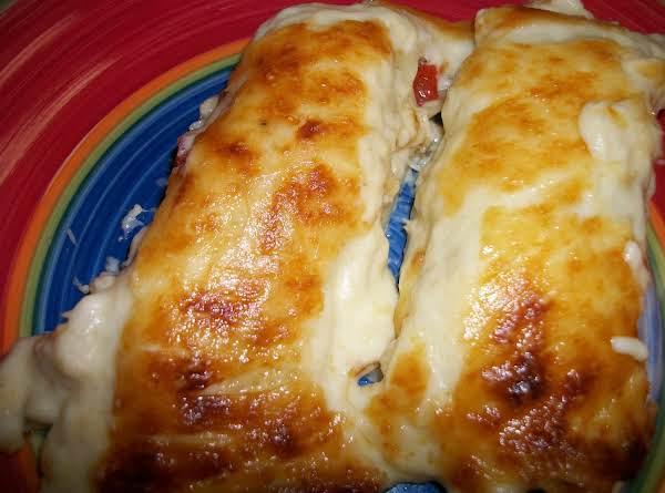 Kat's Chicken Manicotti With Cheese Sauce