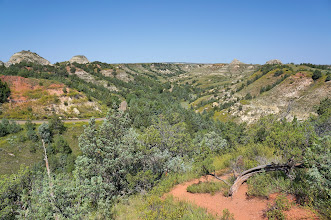 Photo: We had many magnificent views of the badland topography as we drove through the park.