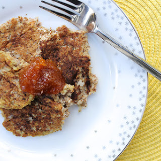 Banana Oat Pancakes with Apricot Compote