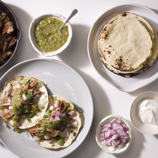 Carnitas with Grilled Salsa Verde and Tortillas