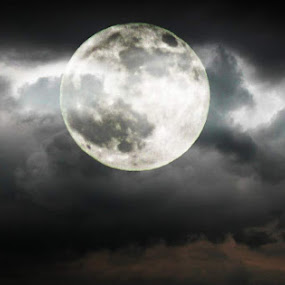 Moon by Morag Soszka - Landscapes Cloud Formations ( clouds, scotland, moon, night sky )