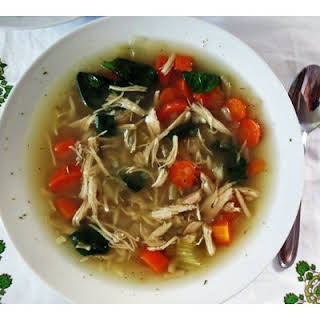 Slow Cooker Lemon Chicken and Orzo Soup.
