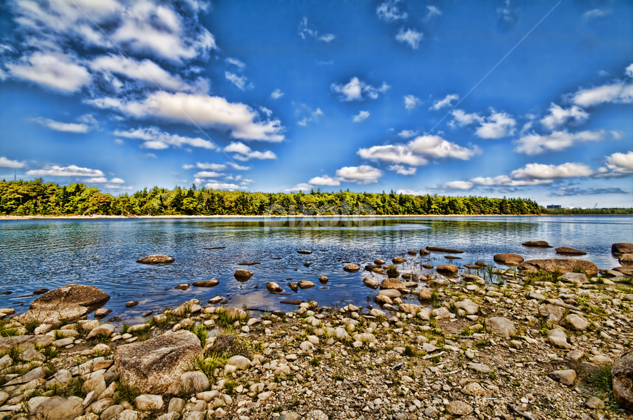 Long Lake Halifax by Isaac Moscovich - Nature Up Close Water ( sky, blue, green, sea, rocks )