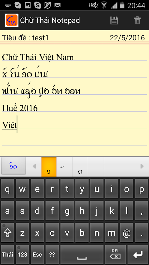 Thai Vietnam Notepad- screenshot