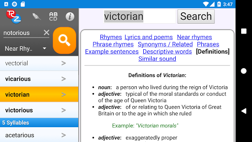 Screenshot for RhymeZone Rhyming Dictionary in Hong Kong Play Store