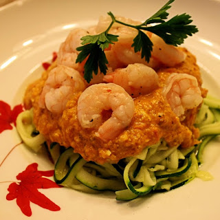 Shrimp Romesco With Zoodles via Whole30