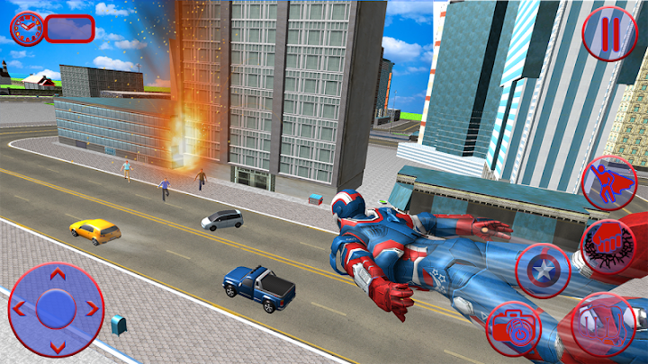 Flying Superhero Captain Robot Crime City Battle Android App Screenshot