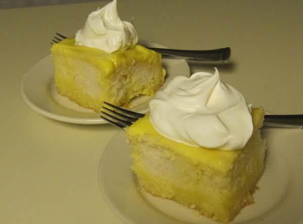 White Cake, Lemon Jello, Lemon Pudding, And Whipped Topping