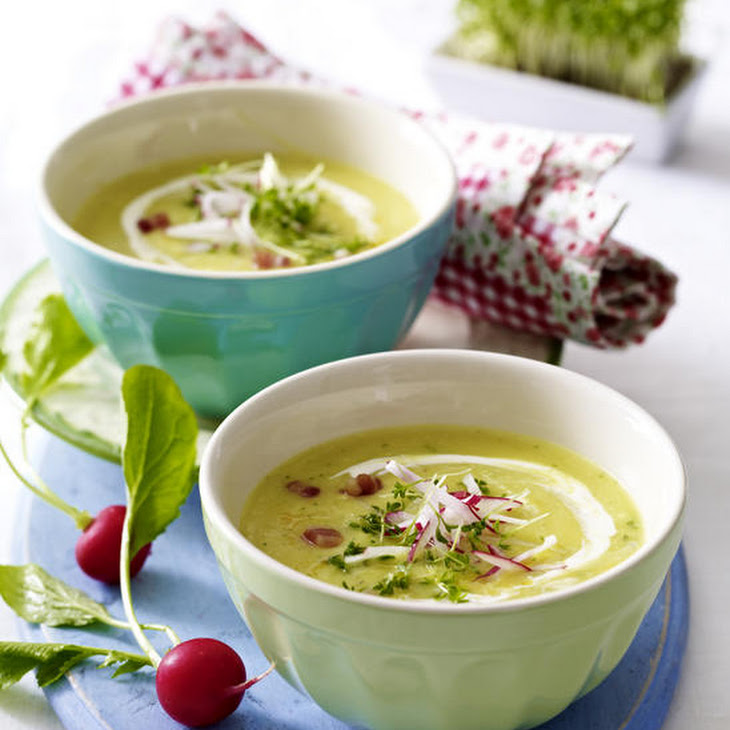 Cream of Potato Soup with Radish and Bacon Recipe