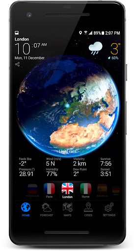 3D EARTH PRO - local weather forecast & rain radar screenshot for Android