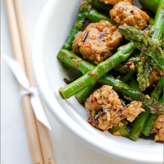Asparagus and Tempeh Stir Fry with Ginger Pearl Couscous Recipe.
