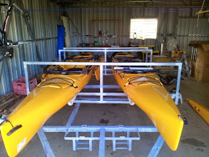 Photo: Front view showing the frame and the yaks sitting on top of the pipe. Yak on the left is fully assembled.