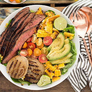 Mexican Grilled Flank Steak Salad with Honey Lime Dressing.