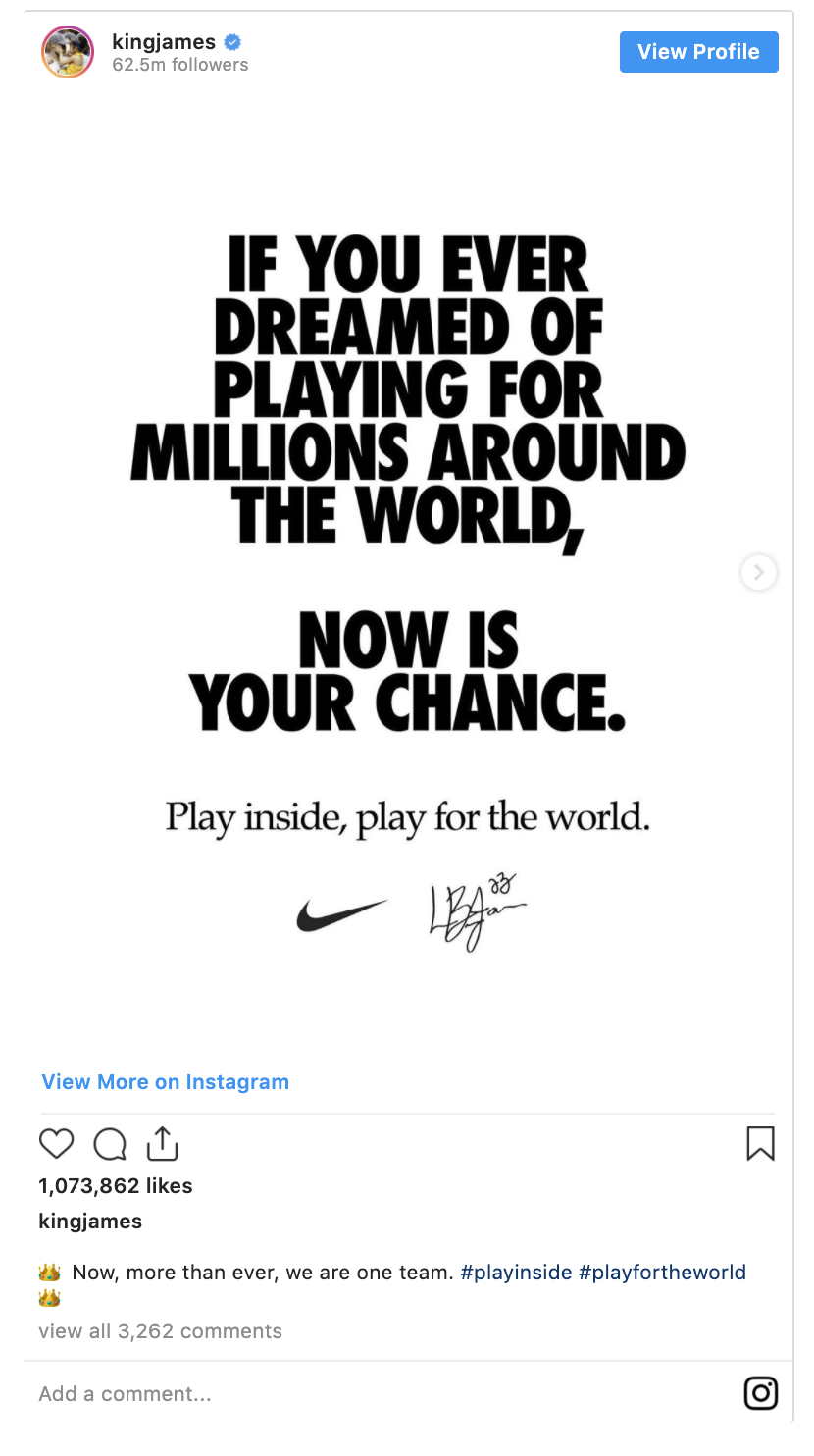 lebron james instagram nike post