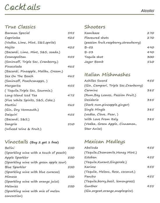 Quesso Ristorante menu 1