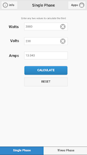 Watts Amps Volts Calculator- screenshot thumbnail
