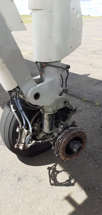 One of the wheels of the Silverstone aircraft which was forced to make an emergency landing at Eldoret International Airport on Monday, October 28, 2019.