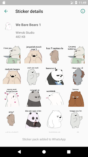 We Bare Bears Stickers for WAStickerApps screenshot 2