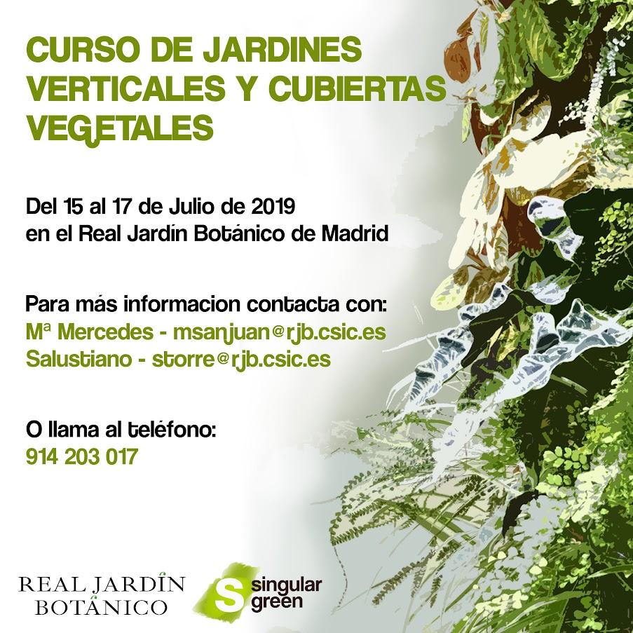 cartel promocional del curso de jardines verticales y cubiertas vegetales