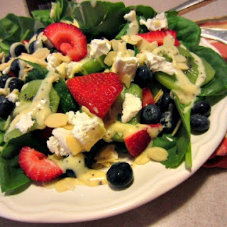 Fruity Summer Spinach Salad with Goat Cheese.