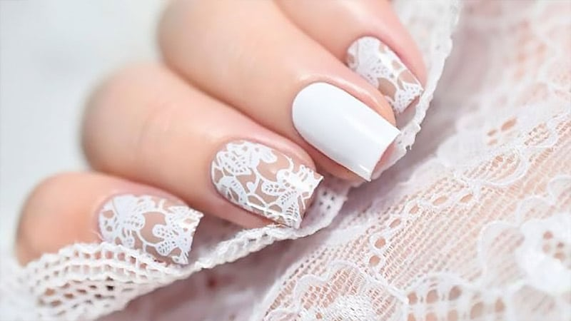 All white nail art
