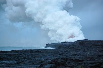 Photo: Bye bye for today. Although the show continued, I made my way back across the lava to the car and was home in time for breakfast. For detailed info on these explosions see http://hvo.wr.usgs.gov/hazards/oceanentry/deltaexplosions/