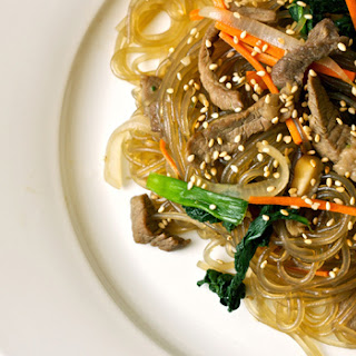 Japchae (Korean Sweet Potato Noodles).