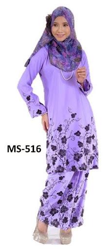 Baju Kurung Pahang Ungu Lembut