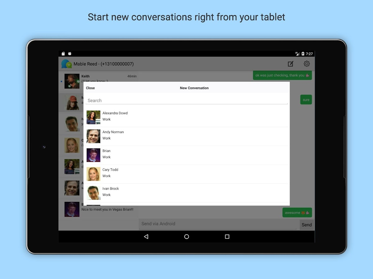 SMS & MMS Texting from Tablet- screenshot