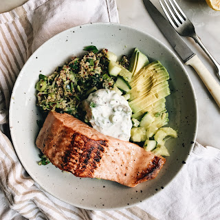 Green Quinoa Bowl with Crispy Skinned Salmon and Herbed Yoghurt.
