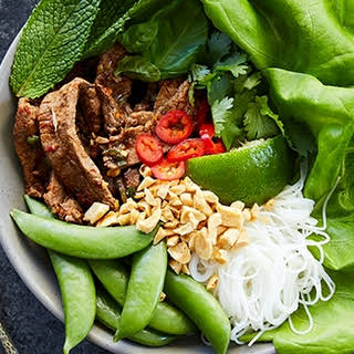 Thai Beef Bowls with Rice Noodles.