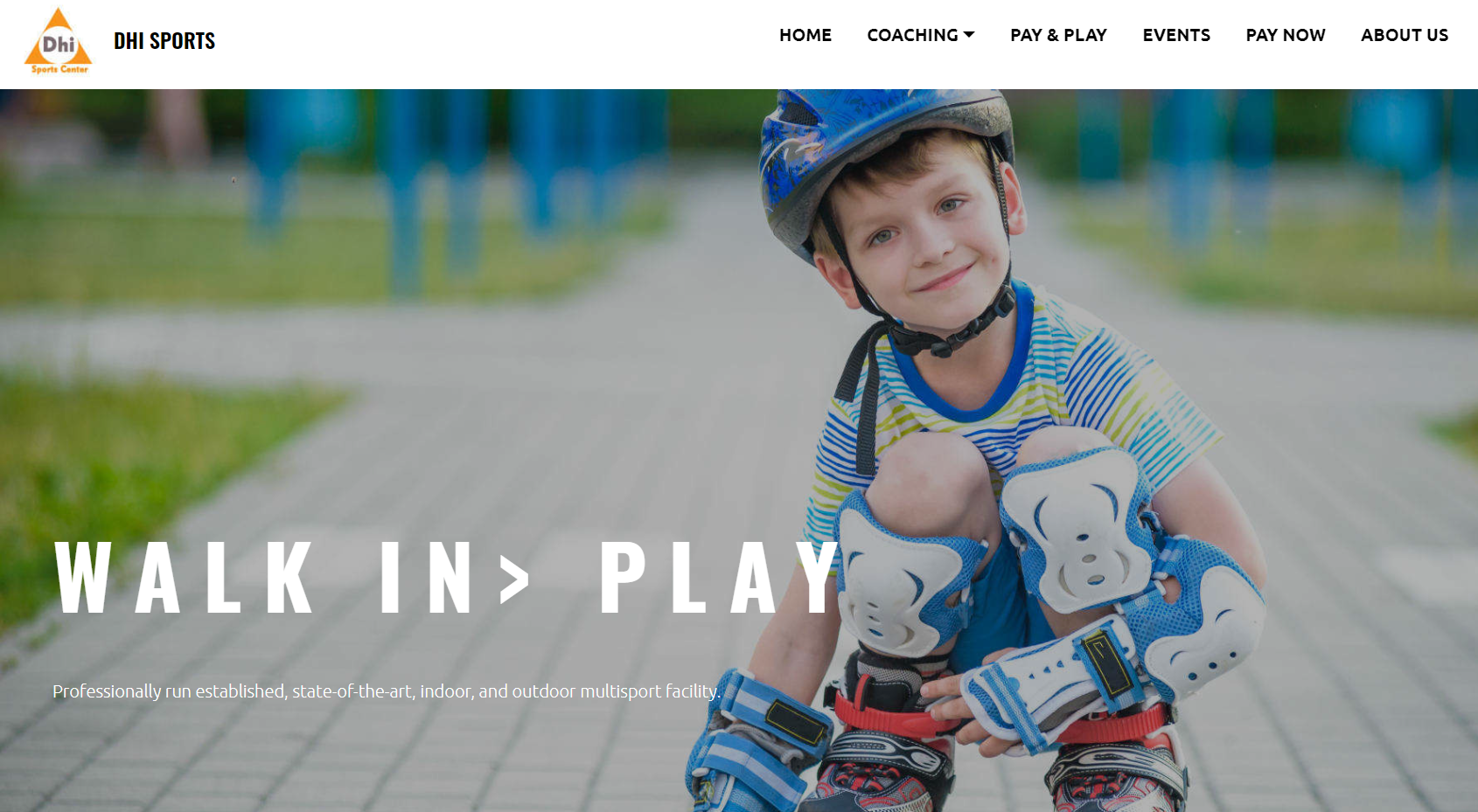 An homepage example of a sports academy