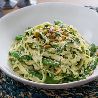 Fresh Fettucine Pasta with Sugar Snap Peas & Arugula Pesto