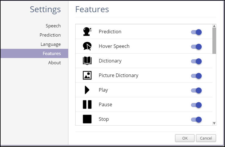 Features Settings On
