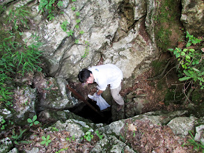 Photo: Park collecting litter from second cave entrance