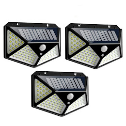 Set 3 x Lampa 100 LED cu panou solar, senzor de miscare