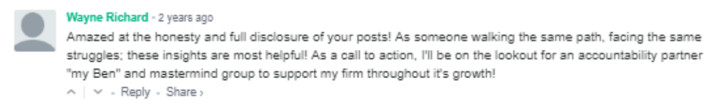 Wayne's initial comment on the Bean Ninjas blog