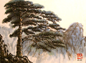 Photo: Chinese painting sold at an auction (rice paper on canvas) 2007