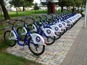 Photo: A new bicycle rental station across from the Ministry.  We didn't see any of these bikes on the street.
