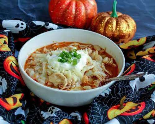 """Click Here for Recipe: Buddy's Crock Pot Spooky White Chili """"My husband..."""