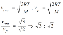 equation of rms and most probable velocity
