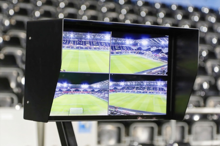 A screen of the Video Assistant Referee VAR system on the pitch side during The Emirates FA Cup match between Swansea City and Notts County at The Liberty Stadium on February 06, 2018 in Swansea, Wales.