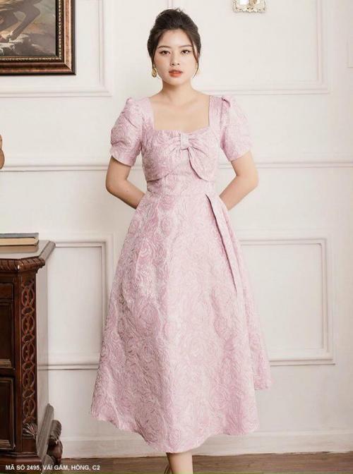 Đầm Gắm Cổ Vuông Tay Ngắn - D2495