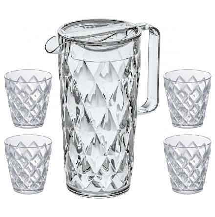CRYSTAL Set, Karaff inkl 4 glas, Crystal Clear