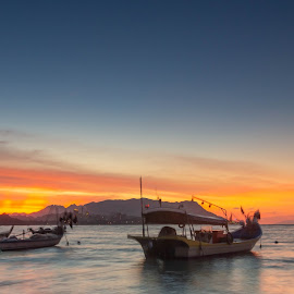 by Shahrin Ayob - Transportation Boats ( moored, sunset, beach )