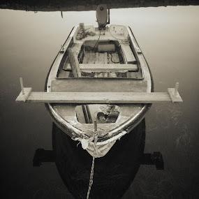All alone by Goran Grudić - Black & White Landscapes ( water, pag, croatia, sea, boat )